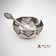 Eastern Open Salt and Spoon Sterling Silver