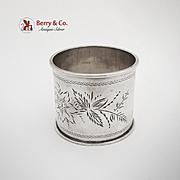 Coin Silver Richard Napkin Ring Floral 1870