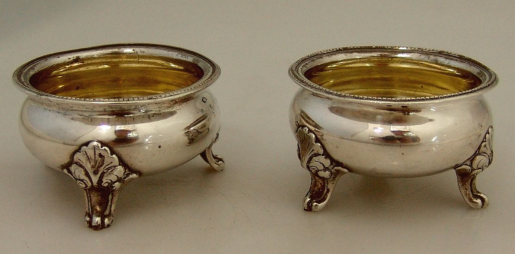 Open Salt Dishes William Ladd Coin Silver 1860 No Monograms