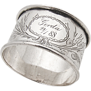 Antique 800 Silver Napkin Ring Floral