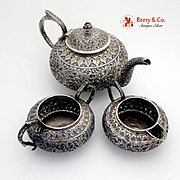 Ornate Indonesian 3 Piece Tea Set Sterling Silver 1930