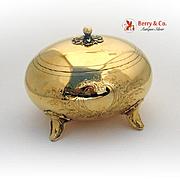 German Oval Sugar Box 1890 800 Silver Gilt