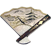 Japanese Figural Fan Compact 950 Sterling Silver 1930