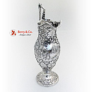 Castle Ram Pitcher Repousse Sterling Silver 1860
