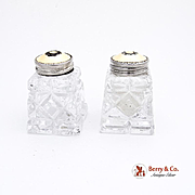 Norwegian Salt and Pepper Shakers Sterling Silver Enamel
