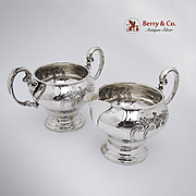 Chantilly Sugar Bowl and Creamer Sterling Silver Gorham 1940