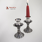 Sterling Silver Pair of  Candlesticks Filigree 1920