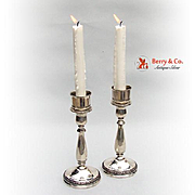 Pair Of Prelude Hurricane Lamp Candle Sticks Sterling Silver International 1939