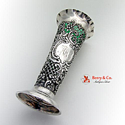 Ornate Floral Scroll Repousse Openwork Trumpet Vase Sterling Silver Glass 1898