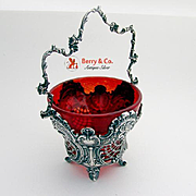 Ornate Baroque Openwork Repousse Swing Handle Basket Sterling Silver Glass 1890