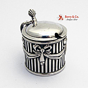 Openwork Ribbon Lidded Mustard Pot Sterling Silver Glass E S Barnsley 1902