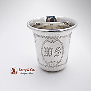 Engraved Vodka Shot Cup Sterling Silver 1900