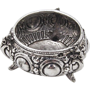 Ornate Repousse Footed Open Salt Dish 800 Silver 1900
