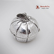British Import Figural Tangerine Pill Box Sterling Silver 1980