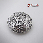 Ornate Repousse Hinged Pill Box 830 Silver 1900