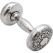 Repousse Floral Baby Rattle Sterling Silver Towle 1930