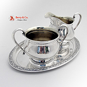 Prelude Creamer And Open Sugar Bowl With Tray Sterling Silver International 1939