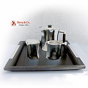 Masai 4 Piece Tea Set Sterling Silver Wood Christofle Mid 20th Century