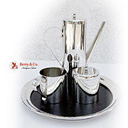 Modernist Coffee Set With Tray Silver Plate Boardman 1970