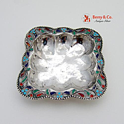 Hand Made Small Square Dish Sterling Silver Enamel