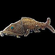 Unique Ornate Figural Filigree Articulated Fish Pill Box Gilt Sterling Silver Turquoise 1950