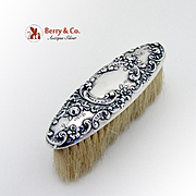 Art Nouveau Repousse Clothes Brush Sterling Silver Horse Hair Gorham 1900