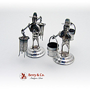 Pair Of Figural Chinese Men Place Card Holders Sterling Silver 1930