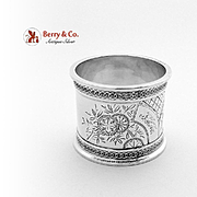 Aesthetic Bird Napkin Ring Coin Silver 1870