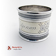Engraved Floral Napkin Ring Coin Silver 1893