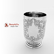 Ornate Floral Footed Baby Cup Sterling Silver Walker Hall 1910