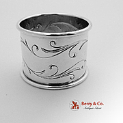 Flowing Scroll Napkin Ring Sterling Silver Towle 1940