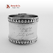 Beaded Napkin Ring Coin Silver Gale Willis1900