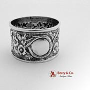 Ornate Floral Repousse Napkin Ring Sterling Silver Arthur Harris 1909