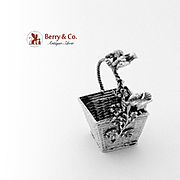 Miniature Basket Sculpture German 800 Silver 1890