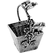 Miniature Basket Sculpture German 800 Silver 1890