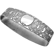 Alphabet Oval Napkin Ring Sterling Silver International 1919