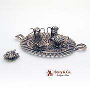 Ornate Filigree Tea Set Figurines Silverplate 6 Pieces 1960