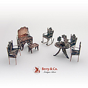 Miniature Filigree Furniture Set Silver Plate 7 Pieces 1960