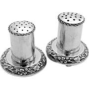 Embossed Salt And Pepper Shakers Chinese Export Sterling Silver Pair 1930