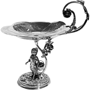 Ornate Figural Compote Dish Silver Plate Reed Barton 1880