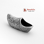 Ornate Embossed Miniature Shoe Clog 833 Silver 1900