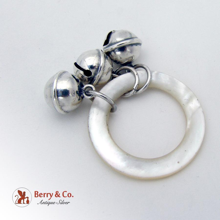 three bell baby rattle teething ring sterling silver