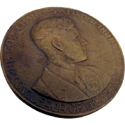 Art Deco Charles Lindbergh Conqueror Of The Atlantic Ocean Medal Bronze Holland 1927