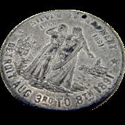 Silver Encampment Detroit GAR Civil War Medal Silver Tone 1891