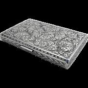 Magnificent Aesthetic Ornate Cigarette Case 800 Silver 1900