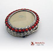 Ornate Engraved Oval Box 800 Silver Coral Italy Ristori Renato 1890