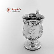 Ornate Embossed Cup Coin Silver 1860