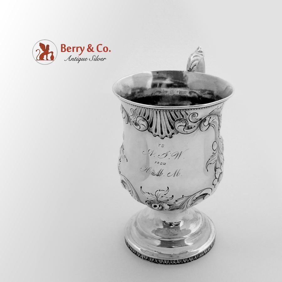 Ornate Embossed Cup Coin Silver 1860 From Berrycom Com On