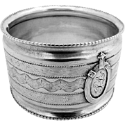 French Engine Turned Napkin Ring Sterling Silver Emile Puiforcat 1890