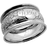 Embossed Foliate Scroll Napkin Ring Coin Silver 1890